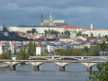 Czech Republic, Prague, Mala Starana. Czech Republic, Prague, beautiful view of the Prague Castle and the Vltava River stock photography