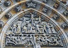 Czech Republic. Prague Castle - Tympanum of St Vitus Cathedral. Tympanum of St Vitus Cathedral. Czech Republic. Prague Castle Royalty Free Stock Photo