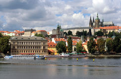 Czech Republic Prague castle. The Vltava river is the temple of the seat of the kings Royalty Free Stock Images