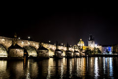 Czech Republic Prague Charles Bridge Castle Cathedral and more at twilight capitol city at night Royalty Free Stock Image
