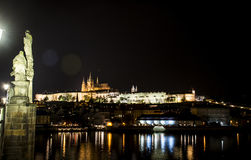 Czech Republic Prague Charles Bridge Castle Cathedral and more at twilight capitol city at night. Czech Republic Prague Charles Bridge Castle Cathedral and more Stock Image