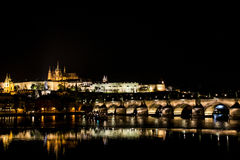 Czech Republic Prague Charles Bridge Castle Cathedral and more at twilight capitol city at night. Czech Republic Prague Charles Bridge Castle Cathedral and more Royalty Free Stock Images