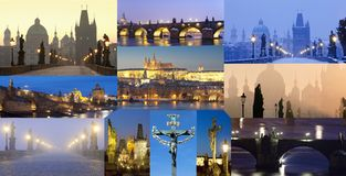 Czech Republic, Prague - Charles Bridge Images Composite. Stock Photography