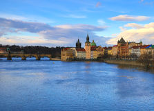 Czech Republic Prague Charles Bridge and Vltava river view. Of the historical part of the clock tower old houses Royalty Free Stock Image