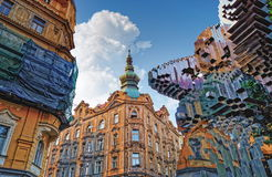 Czech Republic. Prague - City architecture of old town with In Utero Sculpture by David Cerny Royalty Free Stock Photography