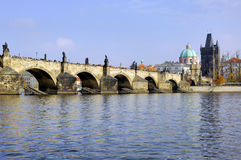 Czech Republic, Prague: City view. St Charles bridge stock photo