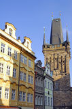 Czech Republic, Prague: City view. With ancient tower and blue sky stock image