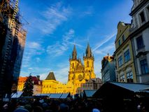 Czech Republic, Prague December 26, 2017: a crowd of people in the square near the castle for Christmas near the market stock photos