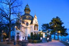 CZECH REPUBLIC, PRAGUE - JAN 8, 2008: art nouveau Hanavsky pavilion, Letna orchards, Lesser Town, Prague, Czech republic. Night view royalty free stock images