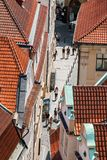 Street with tourists in the historic center of Prague Stock Photography