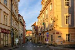 Morning street without people at dawn in Prague, Bohemia Royalty Free Stock Image