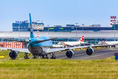 CZECH REPUBLIC, Prague - 2018/07/07: Landing and Arrivals on Vac royalty free stock image
