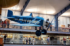 Czech Republic. Prague. National Technical Museum. Vintage airplane. June 11, 2016. Czech Republic. Prague. National Technical Museum. Vintage blue airplane Stock Image