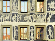Czech Republic, Prague: old facade. With painting figures royalty free stock image