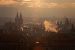 Czech Republic, Prague, oldtown roofs during twilight. Czech Republic, Prague,  oldtown roofs during twilight Royalty Free Stock Photography
