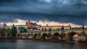 Czech Republic, Prague panorama with historic Charles Bridge and. Vltava river Royalty Free Stock Photo