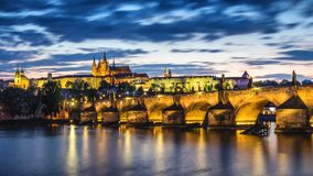 Czech Republic, Prague panorama with historic Charles Bridge and. Vltava river Stock Image