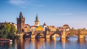 Czech Republic, Prague panorama with historic Charles Bridge and. Vltava river Stock Images