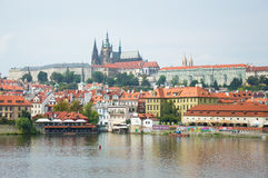 Czech Republic, Prague, Prague Castle view from the shore from the Charles Bridge. Czech Republic, Prague, Prague Castle view from the shore from the Charles royalty free stock image