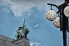 Czech Republic. Prague. Sculpture on the roof of the building. June 13, 2016 Stock Image