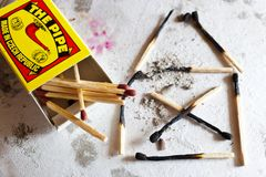 burnt out family house after fire made of used matches - safety first - security concept stock image