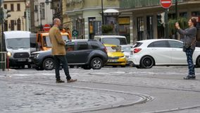 Car traffic in the old town of Prague, Czech Republic stock footage