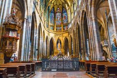 Interior of St. Vitus Cathedral at Prague Castle, Czech Republic. Czech Republic, Prague - September 30, 2017: Interior of St. Vitus Cathedral at Prague Castle royalty free stock images