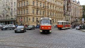 Czech Tram Rides through the Old City of the Czech Republic, Prague. CZECH REPUBLIC, PRAGUE, SEPTEMBER 12, 2017: Czech tram rides through the streets of the stock video