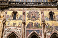 Czech Republic. Prague. St. Vitus Cathedral. Gothic style, 14th century. Golden Gate decorated with Venetian mosaics by Niccoletto. Semitecolo. Depictions of stock photography