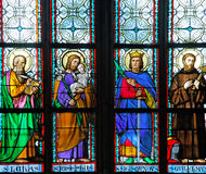 Czech Republic, Prague: stained glass. Of St Vitus cathedral stock photo