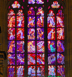 Czech Republic, Prague: stained glass. Of St Vitus cathedral royalty free stock photos