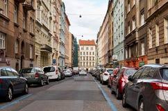 Czech Republic. Prague. Street. June 11, 2016. Czech Republic. Prague. Street with cars. June 11, 2016 stock images