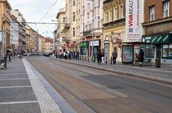 Czech Republic. Prague. Street. June 11, 2016. Czech Republic. Prague. Street with tram tracks. June 11, 2016 stock photo