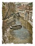 Czech Republic, Prague streets. Stylized art background on old v Royalty Free Stock Images