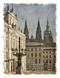 Czech Republic, Prague streets. Stylized art background Royalty Free Stock Images