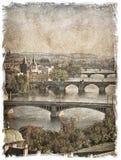 Czech Republic, Prague streets. Stylized art background Royalty Free Stock Image