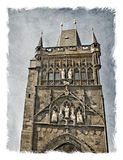 Czech Republic, Prague streets. Stylized background on old paper/ Royalty Free Stock Photos