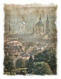 Czech Republic, Prague streets. Stylized background on old paper. Stock Photo