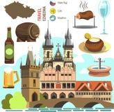 Czech Republic Prague symbol set. Stock Images
