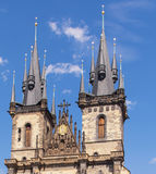 Czech Republic, Prague Tyn church spire, 2017. 08. 01. Historical building beautiful cathedral in Prague.  Stock Photo