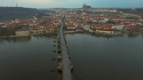 Czech Republic. Prague. 10.11.16. View of the Charles Bridge with a bird`s-eye view stock video