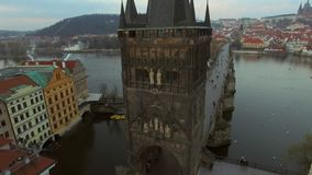 Czech Republic. Prague. 10.11.16. View of the Charles Bridge with a bird`s-eye view stock footage