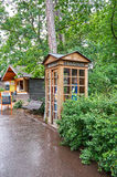Czech Republic. Prague Zoo. Phone booth. June 12, 2016. Czech Republic. Prague. Prague Zoo. Phone booth at the zoo. June 12, 2016 royalty free stock photography