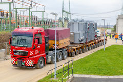 CZECH REPUBLIC, PRESTICE, 11 NOVEMBER, 2014:Transport of heavy, oversized loads  and construction machinery Stock Photo