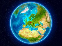 Czech republic on Earth. Czech republic in red from Earth's orbit. 3D illustration. Elements of this image furnished by NASA Royalty Free Stock Photography