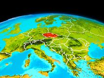 Czech republic in red. Satellite view of Czech republic highlighted in red on planet Earth with borderlines. 3D illustration. Elements of this image furnished by Royalty Free Stock Photos