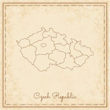 Czech Republic region map: stilyzed old pirate. Royalty Free Stock Images