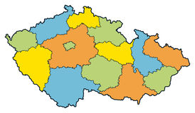 Czech republic regions. Vector map of Czech republic and regions Royalty Free Stock Photos