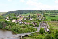 Czech Republic, River Sazava and the village to the east of Cesky Sternberk Castle. Royalty Free Stock Photos