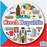 Czech Republic round background. Vector colored flat icons and symbols set Royalty Free Stock Image